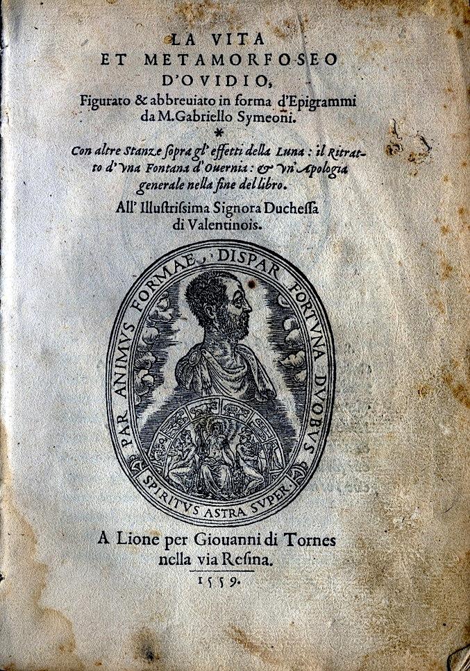 LA VITA ET METAMORFOSEO D'OVIDIO Giovanni di Tornes Lione 1519 1 copia