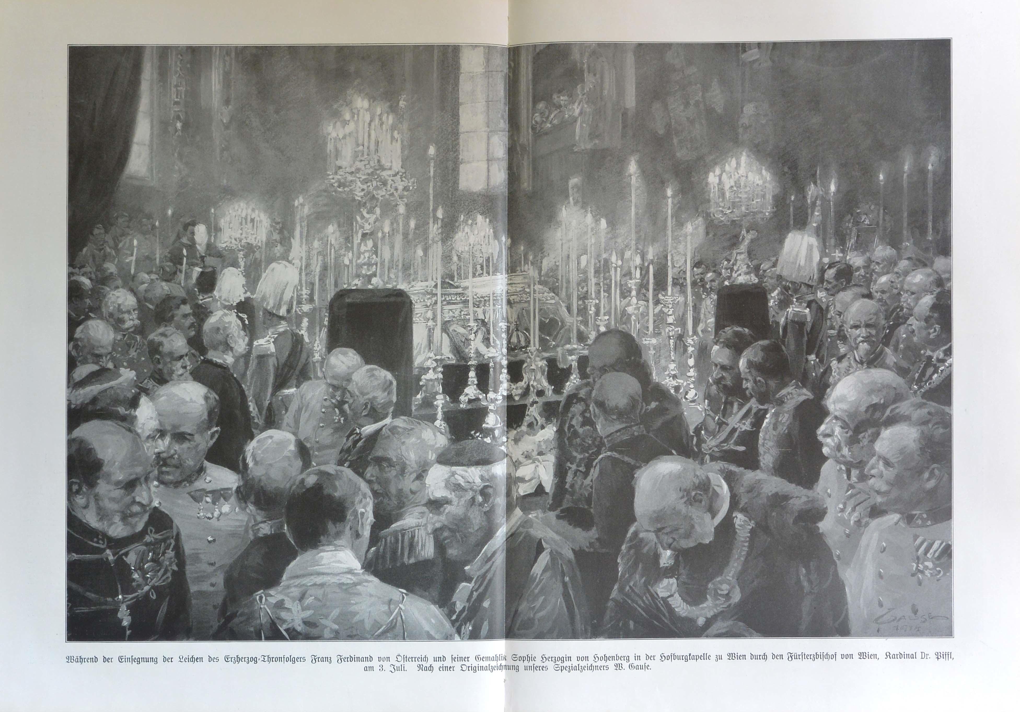 the ceremony for the funeral of Archduke Franz Ferdinand and his wife Sophie on July 3rd, 1914, the illustration is by the special envoy, designer W. Gaufe - la cerimonia per le esequie dell'arciduca Franz Ferdinand e di sua moglie Sophie, il 3 luglio del 1914. L'illustrazione è dell'inviato speciale disegnatore W. Gaufe
