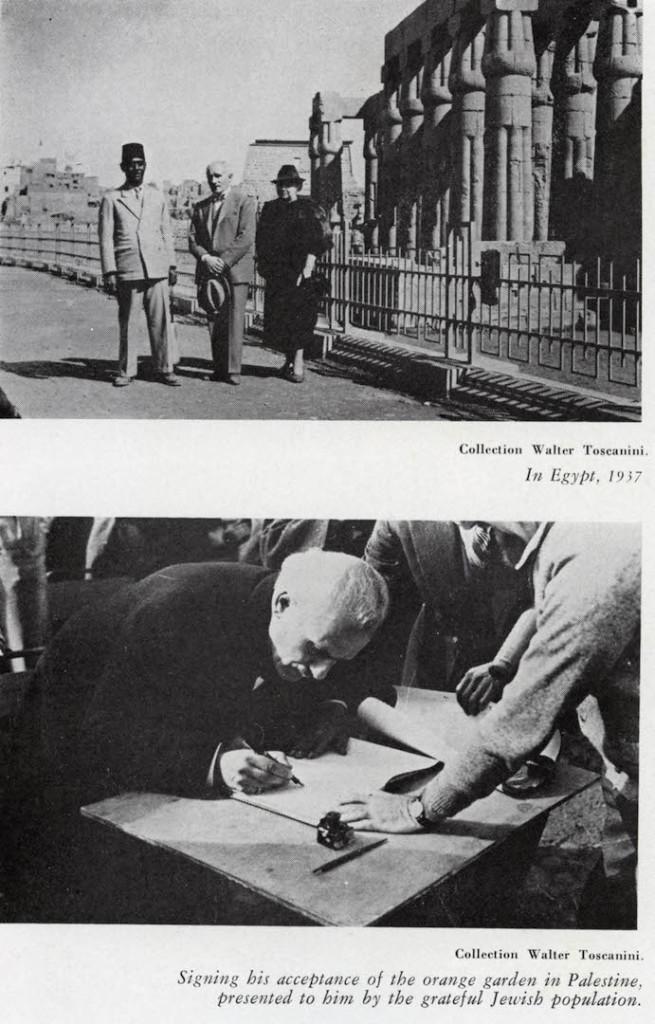 In Egitto, 1937 (a Luxor, Ndr) In Palestina, firma per accettare il giardino di arance donatogli dalla popolazione ebrea.