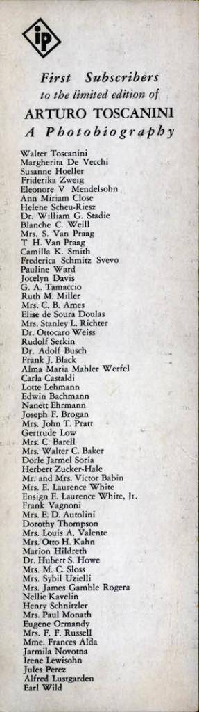 fronte del segnalibro con l'elenco dei sottoscrittori cha accompagna l'edizione del libro.