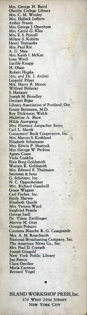 verso del segnalibro con l'elenco dei sottoscrittori cha accompagna l'edizione del libro.