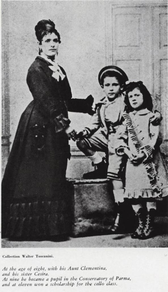 All'età di 8 anni, con la zia Clementina, e sua sorella Cesira. L'anno seguente si iscrisse al conservatorio di Parma, e a 11 vinse una borsa di studio per la sezione di violoncello.