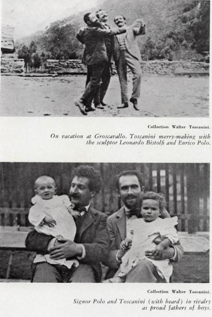 In vacanza a Groscavallo. Toscanini si diverte con lo scultore Leonardo Bistolfi e Enrico Polo. Il Signor Polo e Toscanini (con la barba) rivaleggiano come orgogliosi padri di figli maschi.