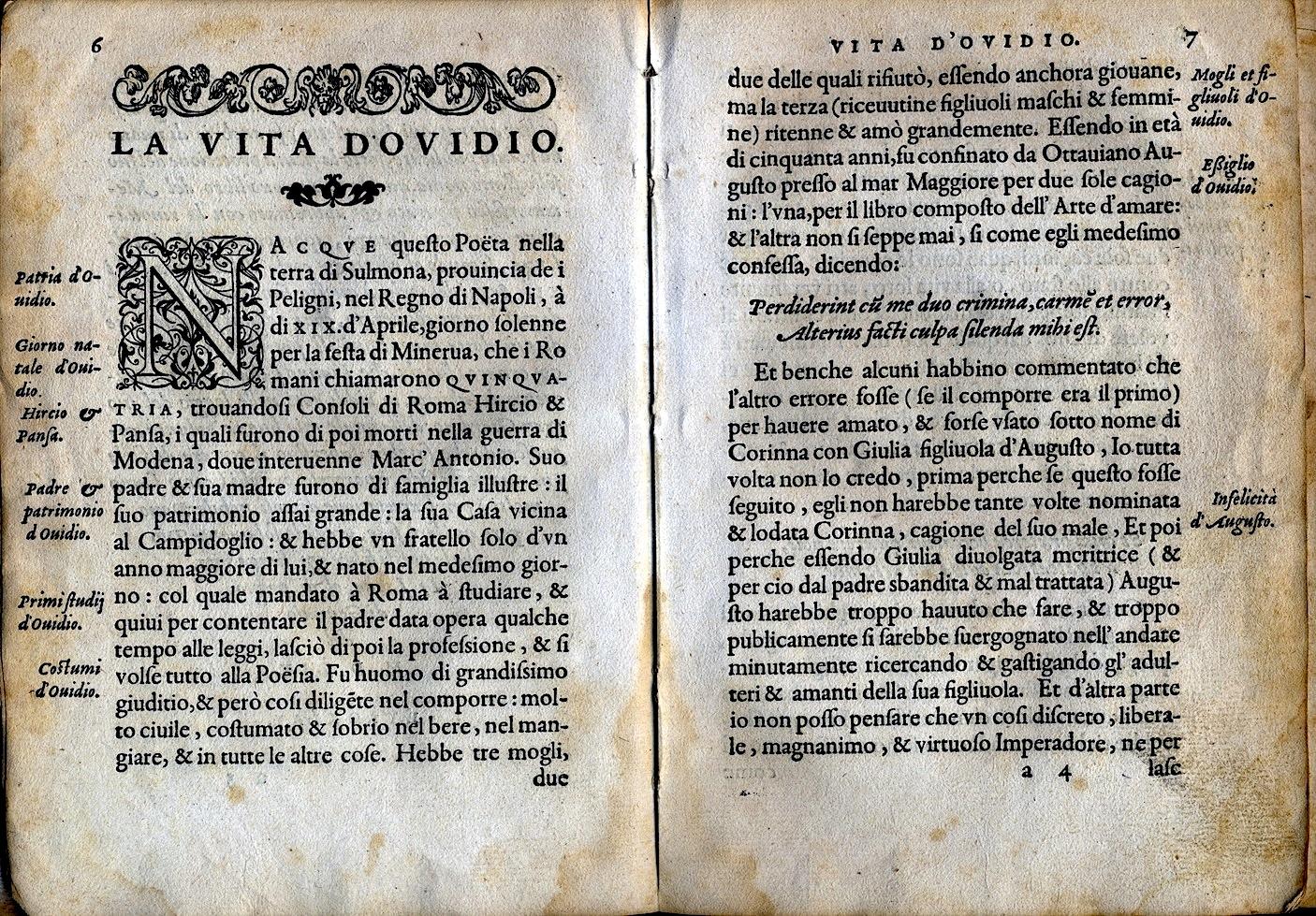 LA VITA ET METAMORFOSEO D'OVIDIO Giovanni di Tornes Lione 1519 copia