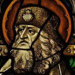 Vetrata con san Giacomo in abiti da pellegrino, (pressi di) Colonia, ca. 1480. Vetri colorati, pittura a grisaglia, piombo, Colonia, Museum  Schnütgen