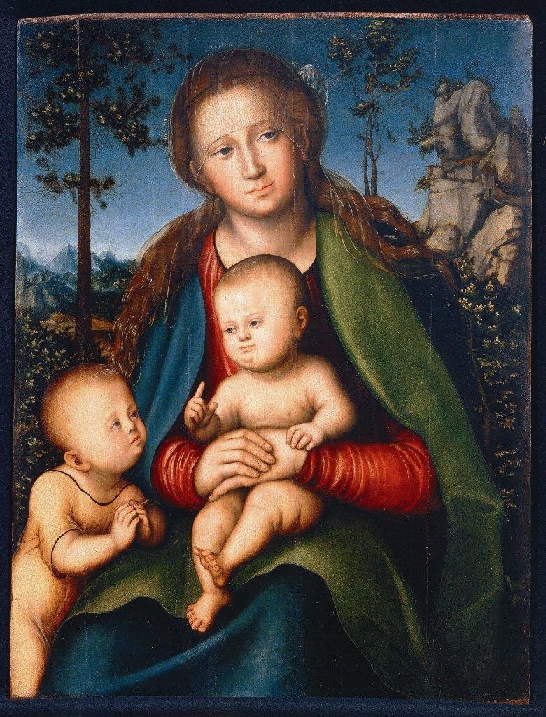 Lucas Cranach il Vecchio e bottega Madonna col Bambino e san Giovannino 1514 Olio su tavola Firenze, Gallerie degli Uffizi, Galleria delle Statue e delle Pitture