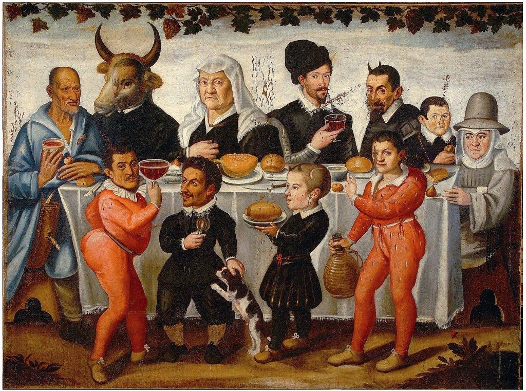 Anonimo pittore toscano Convito grottesco con Lutero, Calvino e le loro mogli 1630-1640 ca Olio su tela Firenze, Gallerie degli Uffizi, Galleria Palatina e Appartamenti Reali, depositi