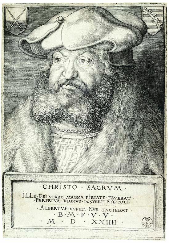 Albrecht Dürer (Norimberga 1471-1528) Federico il Saggio, elettore di Sassonia 1524 Incisione a bulino, foglio smarginato, Firenze, Gabinetto Disegni e Stampe degli Uffizi
