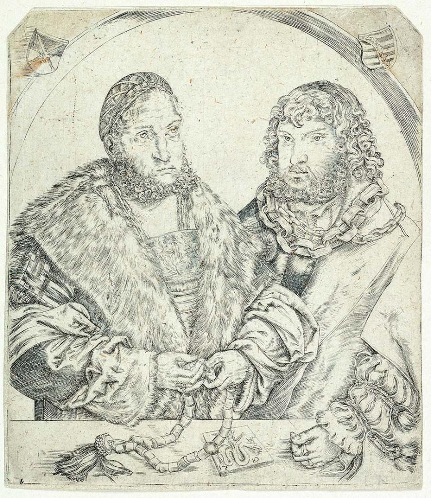Lucas Cranach il Vecchio (Kronach 1472 - Weimar 1553) Doppio ritratto del principe elettore Federico di Sassonia e del fratello il duca Giovanni 1510 Incisione a bulino, foglio Firenze, Gabinetto Disegni e Stampe degli Uffizi